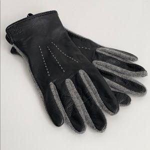 RALPH LAUREN leather wool tech touchscreen gloves